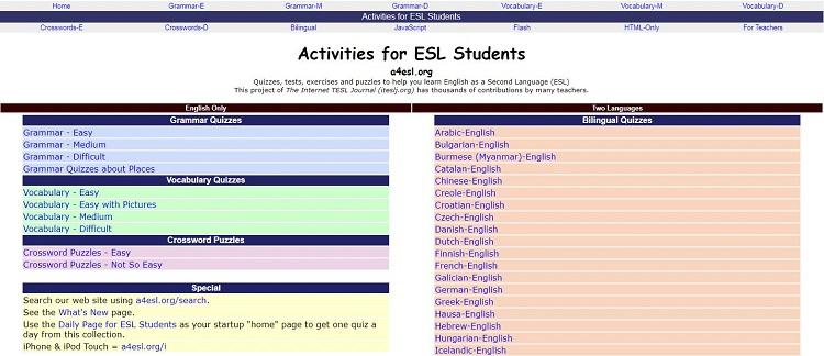 Website cho người mất gốc tiếng Anh - A4ESL