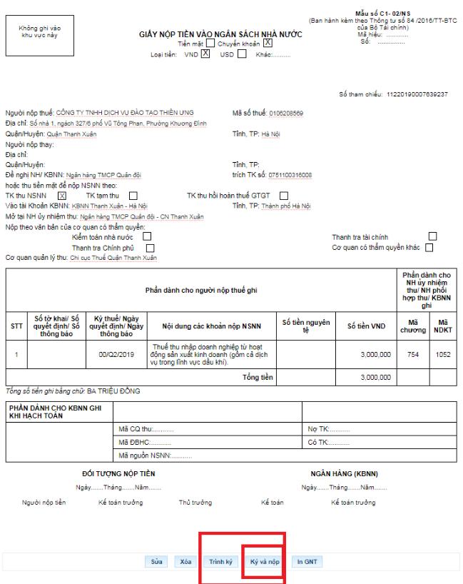 Cách lập giấy nộp tiền trên trang thuế điện tử 11