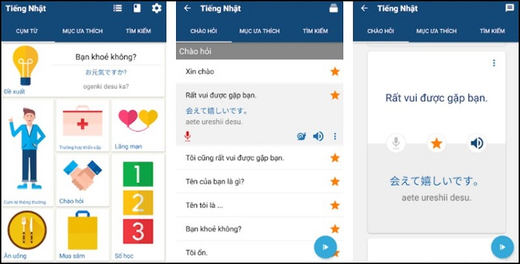 App tự học tiếng Nhật Learn Japanese Phrases